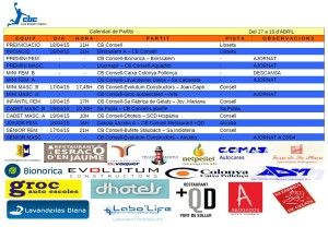 HORARIS CB CONSELL- 17-19 abril 15