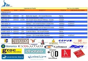 HORARIS CB CONSELL- 24-26 abril 15