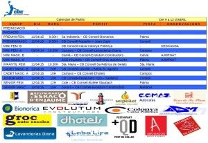 HORARIS CB CONSELL- 9-12 abril 15
