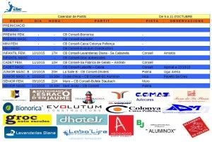 Horaris CB CONSELL- 09 a 11 oct 15