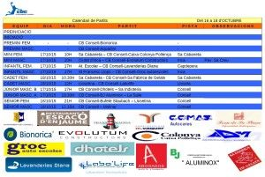 Horaris CB CONSELL- 16 a 18 oct 15