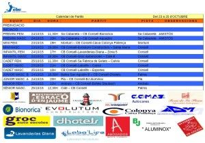 Horaris CB CONSELL- 23 a 25 oct 15